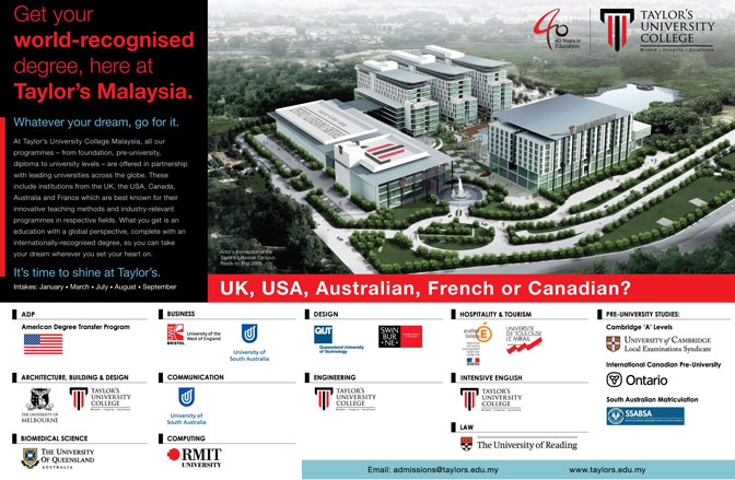 biaya kuliah di taylors unviersity malaysia terbaru